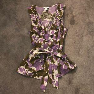 LOFT patterned wrap tie tank top